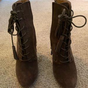 Brown block heel lace up booties